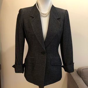 Anne Klein black and white wool blazer classic cut